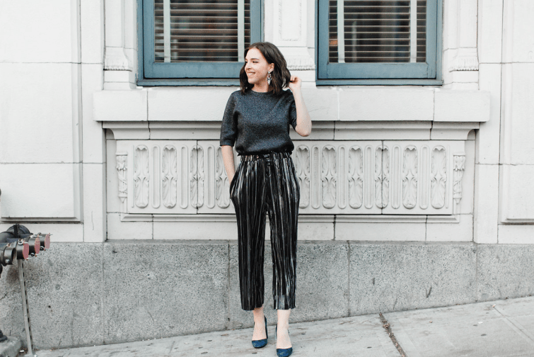 Topshop Metallic pleated pants New Year's Eve outfit fashion blogger (4)