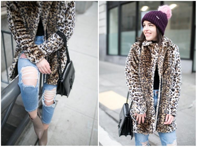 Seattle fashion blogger leopard faux fur coat and beanie