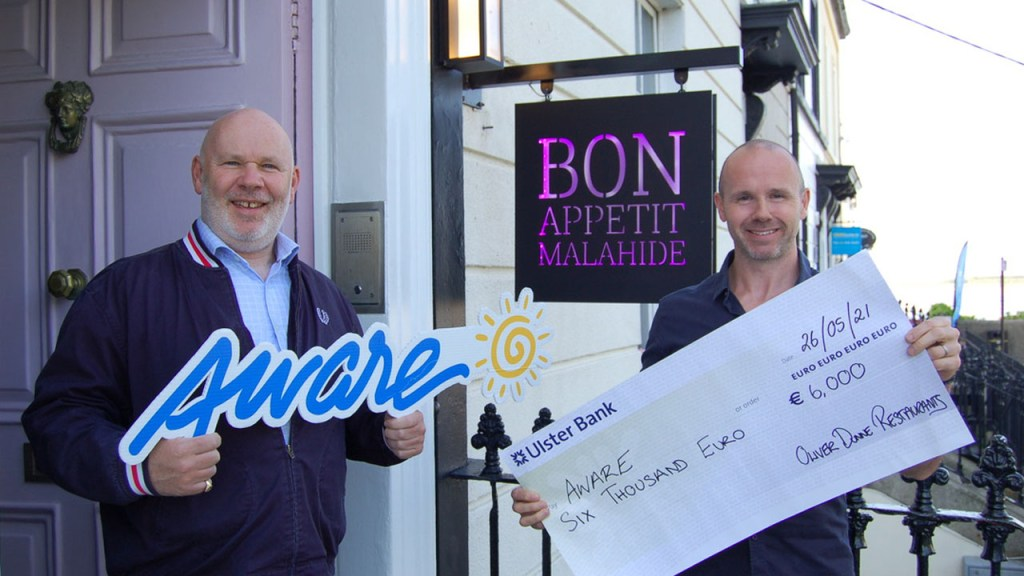 Oliver Dunne Restaurants Donate to Aware Charity