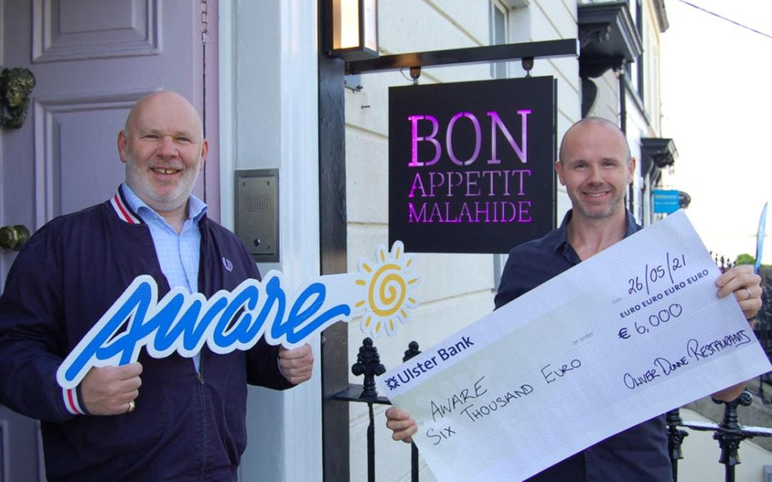 Oliver Dunne Restaurants Donates €6,000 to Charity Partner Aware