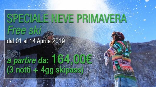 """Offerta Speciale """"NEVE PRIMAVERA"""" dal 01 al 14 Aprile 2019"""