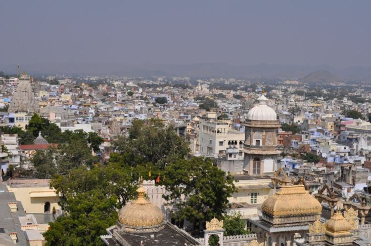 Vista do City Palace de Udaipur