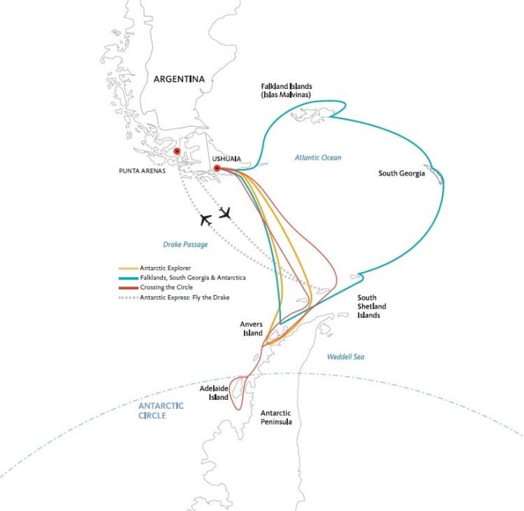 mapa com os roteiros