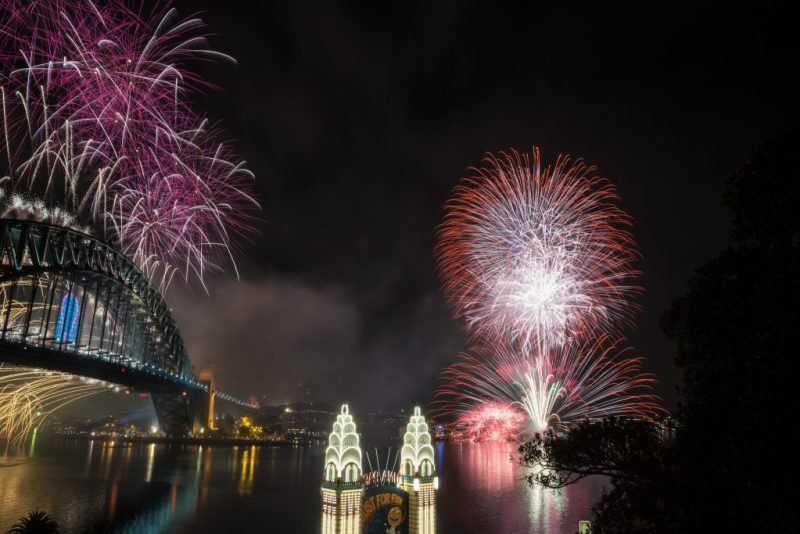 New Year's fireworks from north side of Sydney's harbour.