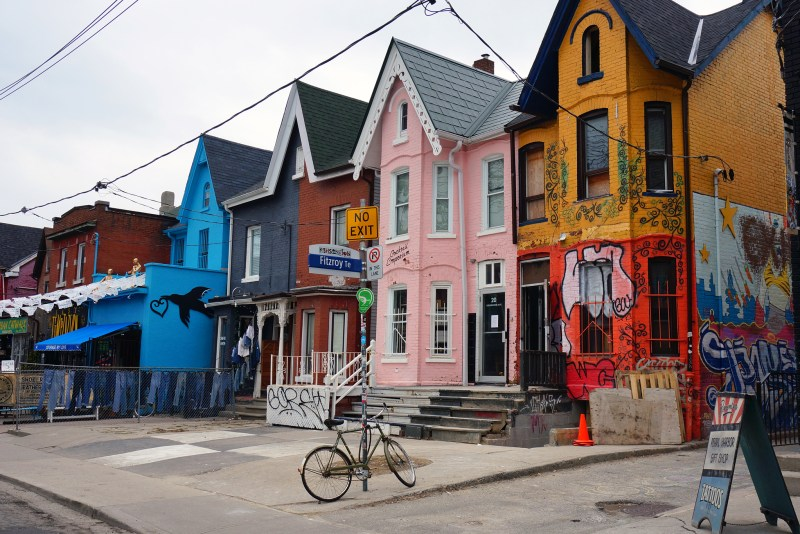 Colorful houses in Toronto's bohemian, immigrant-rich neighbourhood of Kensington Market.