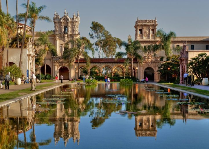 Beautiful reflection off the courtyard fountain surface in San Diego's historic Balboa Park.