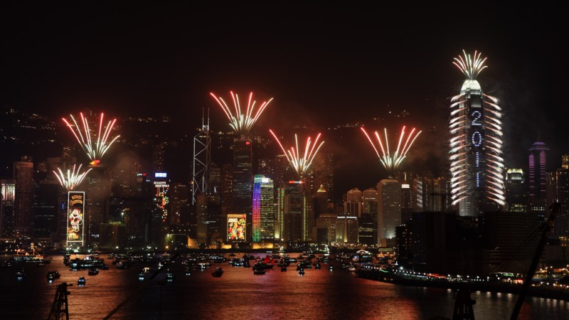 View of NYE fireworks in Hong Kong from water.