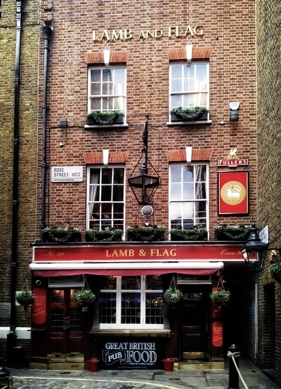 Lamb and Flag pub in Covent Garden, London, aka Charles Dickens' favorite pub.