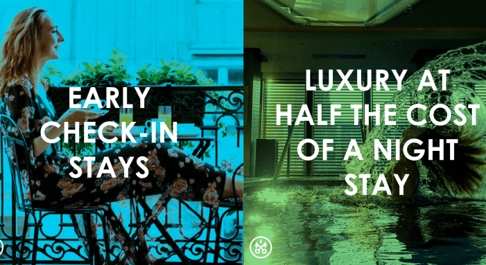 Check in early at luxury hotels for half the cost of a night stay when you book with HotelsBydDay