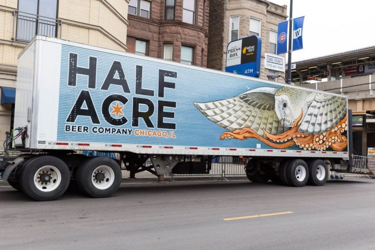 Artsy octopus with bird on Half Acre Brewery Beer Truck.
