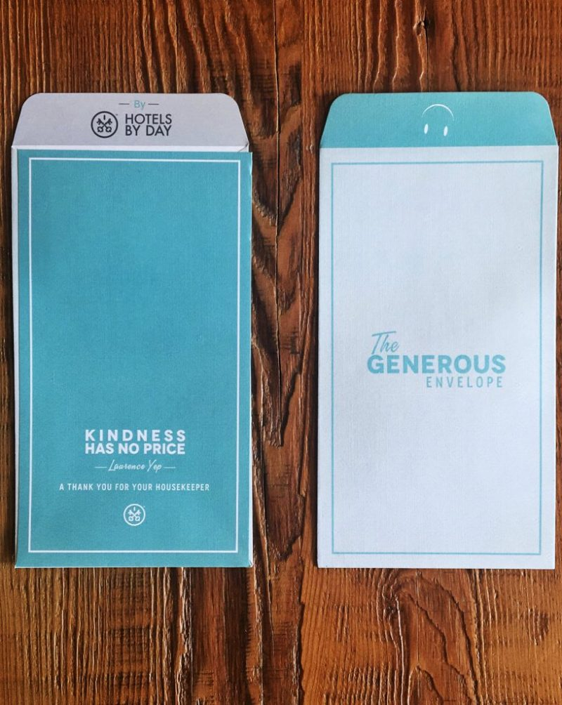 """HotelsByDay Generous Envelope """"Kindness has no price."""" - A thank you for your housekeeper."""