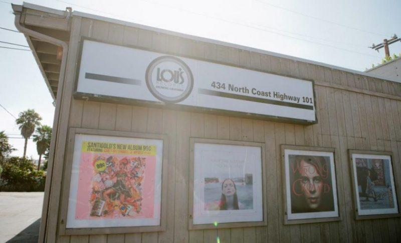 View of exterior of Lou's record shop in Encinitas, California.