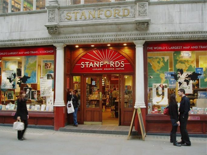 View outside of Stanfords, an independent bookshop in London's Covent Garden.