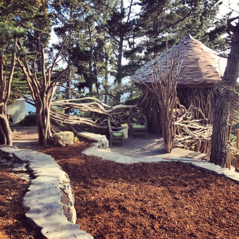 View of twig hut at Treebones Resort in Big Sur, CA
