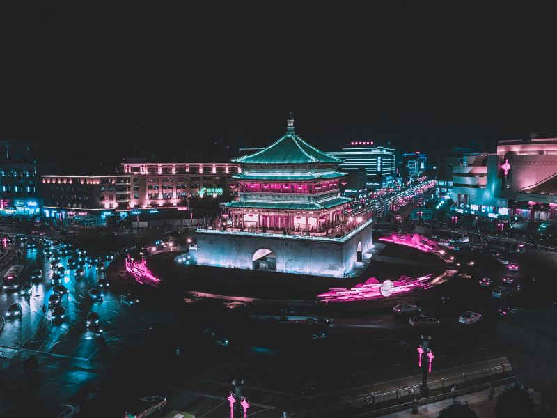 The Bell Tower of Xi'an and road circling it lit up at night in Xi'an, China.