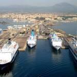Vista dall'alto del porto di Olbia