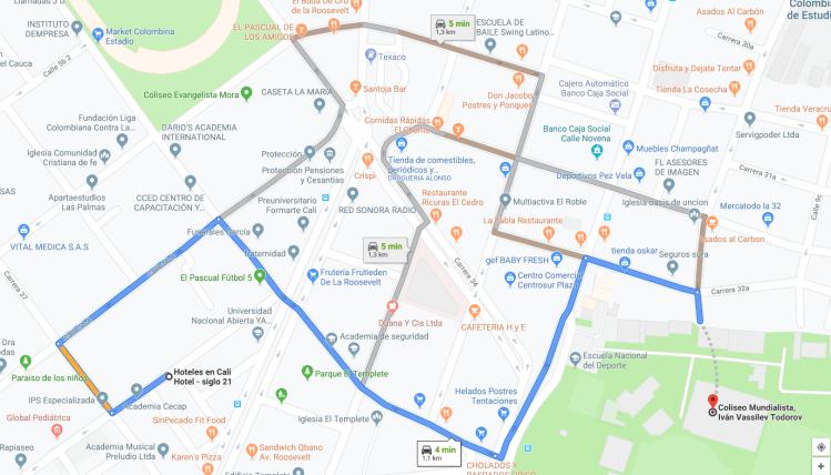 Hoteles baratos en cali cerca del Coliseo Mundialista, Iván Vassilev Todorov, Cl. 9b #32a-21, Cali, Valle del Cauca