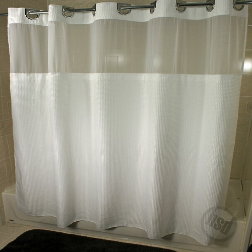 rujan mini waffle polyester shower curtain see thru top window snap away white liner 72x74 chrome buckle header