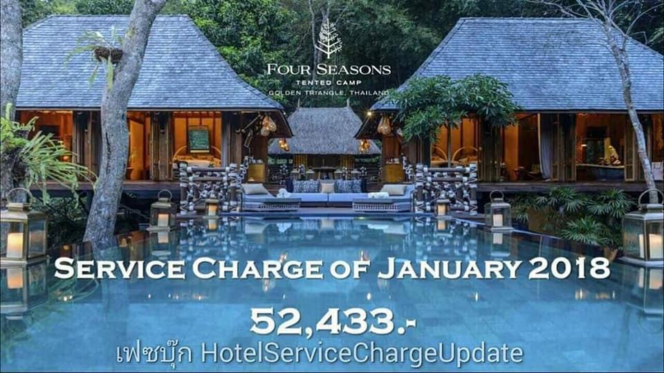 เซอร์วิส ชาร์จ โรงแรมในไทยเดือนมกราคม 2018 (Peak Season)