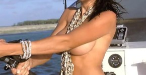 Hot girl fishing topless