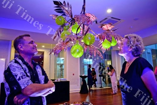 Artists Shane Bower and Alice Hill during their Born from Fire Exhibition at the Grand Pacific Hotel last night. Picture: JONA KONATACI
