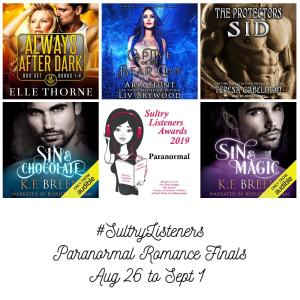 Audiobook Cover Collage: Sultry Listener Awards 2019 - PNR Finals Aug 26- Sept 1