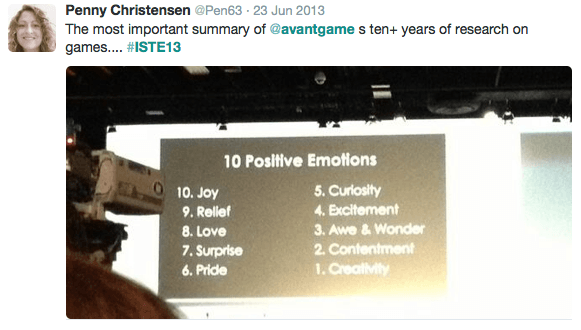 Ten Postive Emotions while Gaming