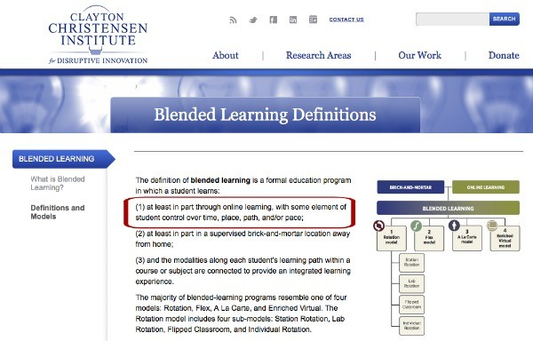 Clayton Christensen Definition of Blended Learning