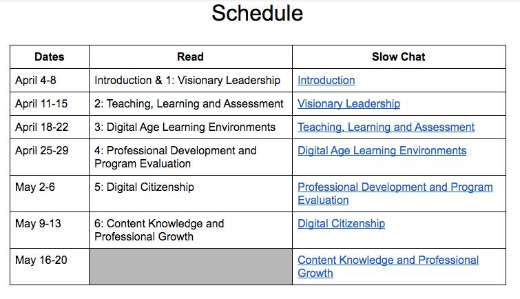 ISTE Spring 2016 Book Study Schedule