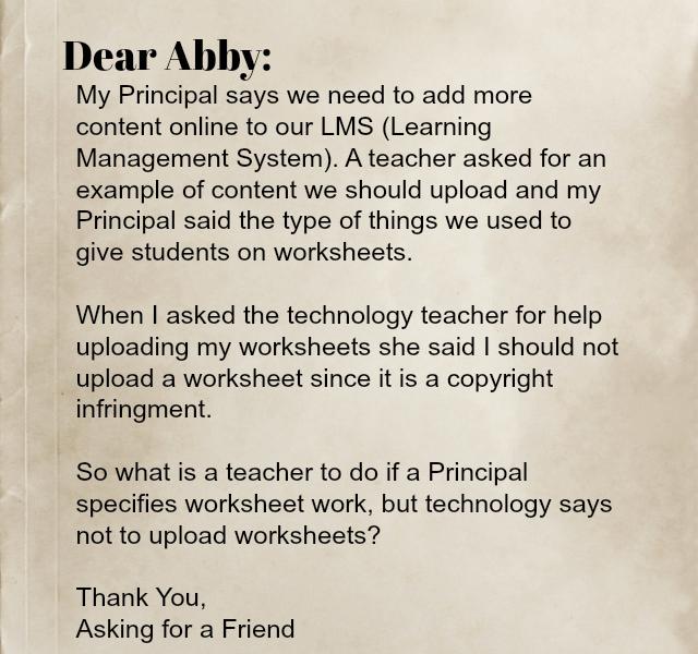 Dear Abby convert worksheet to online content