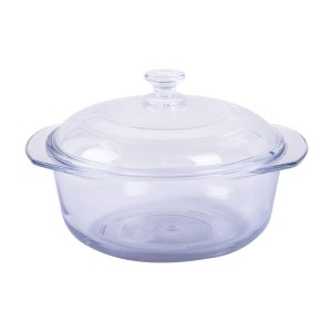 Double-eared glass serving pot 142mm