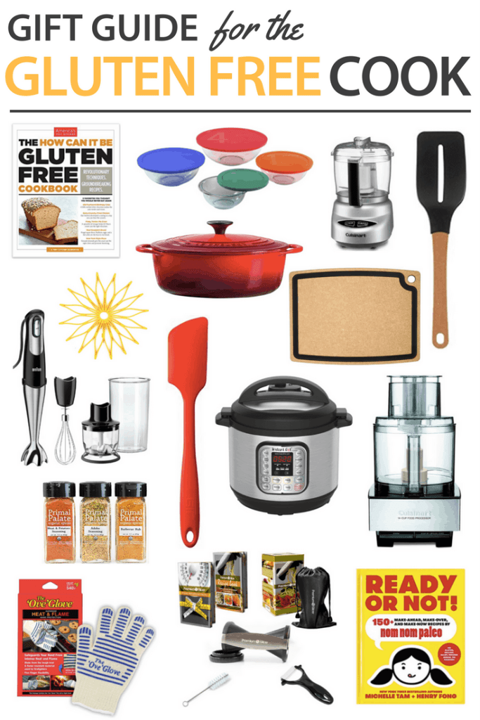 Looking for Gluten Free Gift Ideas for friends or family? This simple list of items are sure to go over well for the gluten free cook. Give one on it's own or put smaller ones together for a gift basket. Gift a Happy Holidays! #glutenfree #gifts