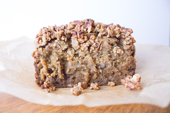 Gluten Free Maple Pecan Banana Bread - no processed sugar!