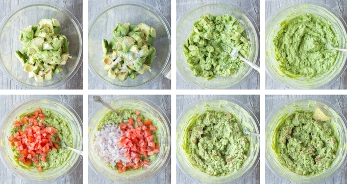 Bowl process shot of steps to make Citrusy Simple Guacamole