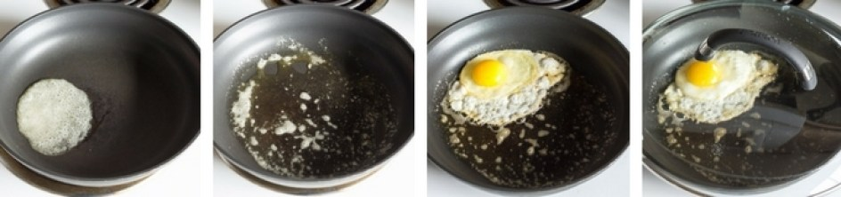 process shot of how to fry an egg