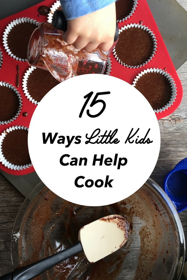 15 ways little kids can help cook. Trying to get your kids in the kitchen? Check out these tips to help you cook with your kids. #kids #cookingtips #cookingwithkids #kidrecipes