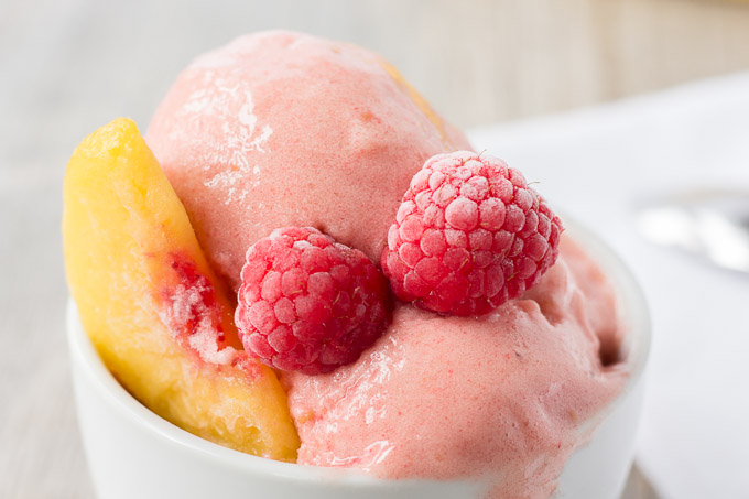 close up of raspberry peach nice cream #glutenfree #vegan #dessert