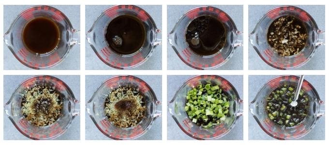 process of shot of marinade for gluten free teriyaki chicken kabobs