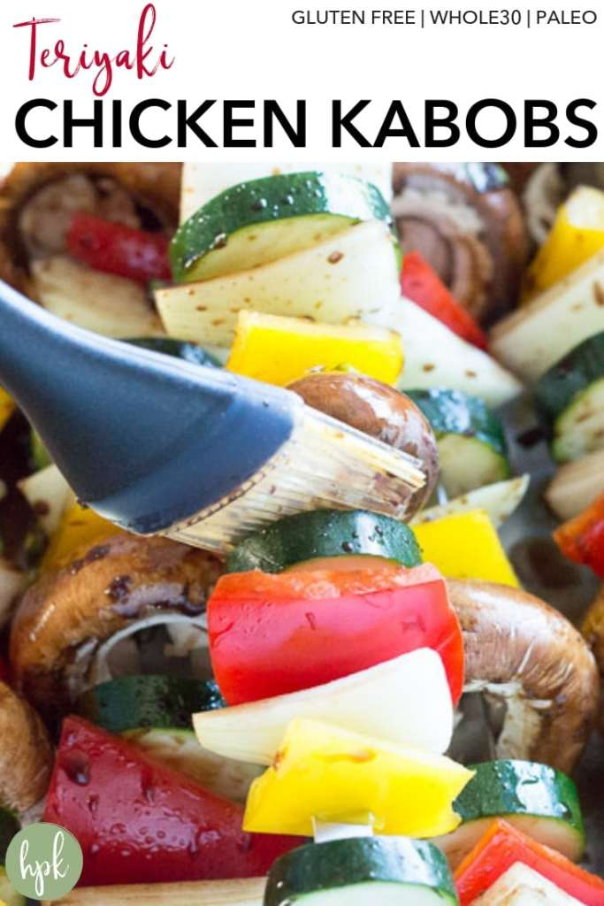 Perfect for when it's too hot to turn on your oven, these Gluten Free Teriyaki Chicken Kabobs cook up great on your grill. The marinade uses coconut aminos instead of soy sauce, making it both gluten free and Whole30 compliant. Pair it with regular rice or cauliflower rice for bonus veggies in your dinner. #glutenfree #chicken #recipe #teriyaki #grill
