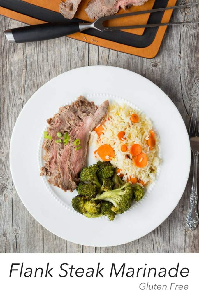 Get out of the kitchen and onto the grill with this Gluten Free Flank Steak Marinade with Tamari. Cooks up in no time flat making it a perfect weeknight meal.#bbq #grill #glutenfree #steak #beef