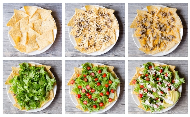 process shot of 8 plates compiling easy nacho salad