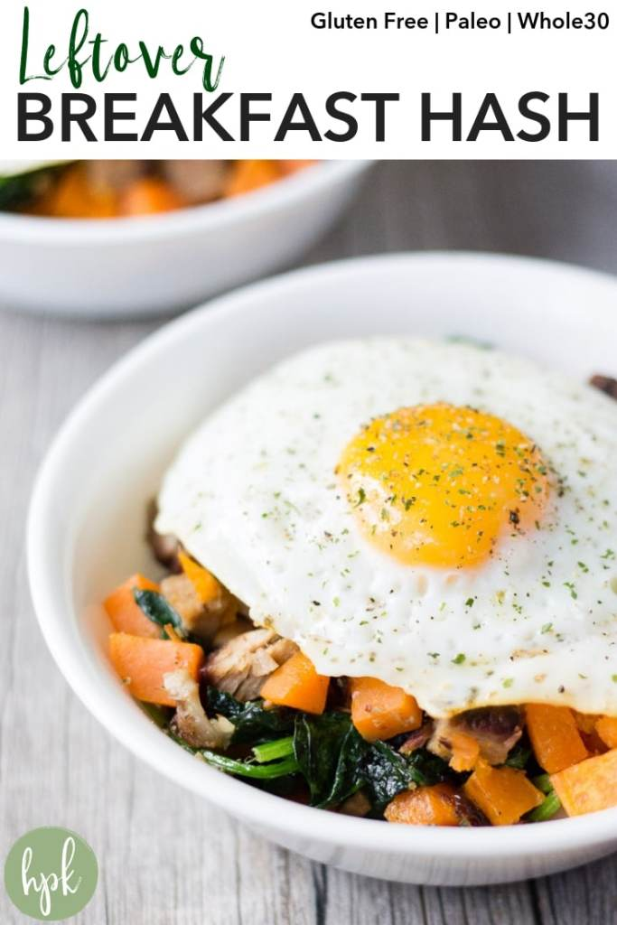This Leftover Breakfast Hash is an easy way to put leftover meats and veggies to good use. It's made in one skillet and if your leftover meat is compliant, can also be paleo or Whole 30. Use sweet potato or regular potato, and whatever greens you have on hand, like kale or spinach. Click here to have breakfast cooked in just 15 minutes! #breakfast #glutenfree #whole30 #paleo