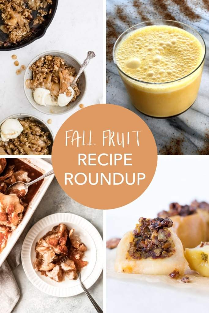 Don't miss this Fall Fruit Roundup! These in season recipes are great ideas for a party or just as desserts for a weeknight meal. Celebrate autumn with these fall flavors! #recipes #fruit