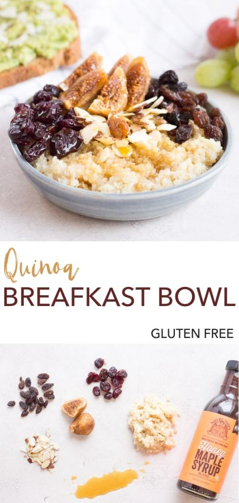 This Quinoa Breakfast Bowl is an easy gluten free recipe for busy mornings. It's eaten warm and made sweet by a drizzle of maple syrup on top of the slivered almonds and dried fruit. A filling and healthy way to start the day! #glutenfree #breakfast