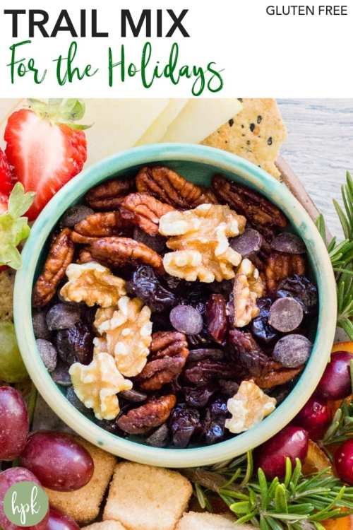 This Gluten Free Trail Mix for the Holidays is a simple way to snack. It has dried fruit and chocolate chips for sweetness, so it can be served alongside desserts, but is healthier food than pies and cakes. Or you can serve it alongside fresh fruit, cheese, and gluten free crackers as an appetizer. #glutenfree #snack #holidays