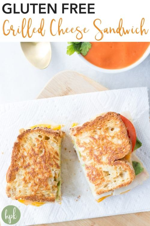 This Gluten Free Grilled Cheese Sandwich is a classic comfort food great for dinners or lunches. While it's not exactly healthy, it is simple and delicious, using sliced meat (chicken or turkey), avocado, and tomato in addition to the cheese. Try it out for your next meal, it's great with a side of soup and some veggies! #glutenfree #cheese #lunch