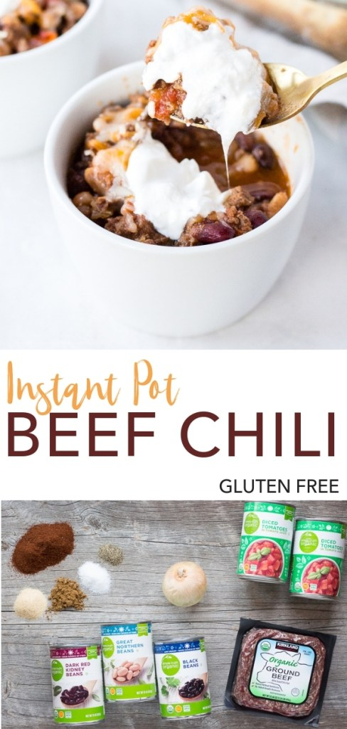 This Instant Pot Beef Chili is an easy recipe for a weeknight dinner. It's gluten free and simple to make, using ground beef, diced tomatoes, beans, onion, and spices. Top it with shredded cheese and sour cream and add a square of cornbread on the side - the best meal on a cold night! #chili #glutenfree