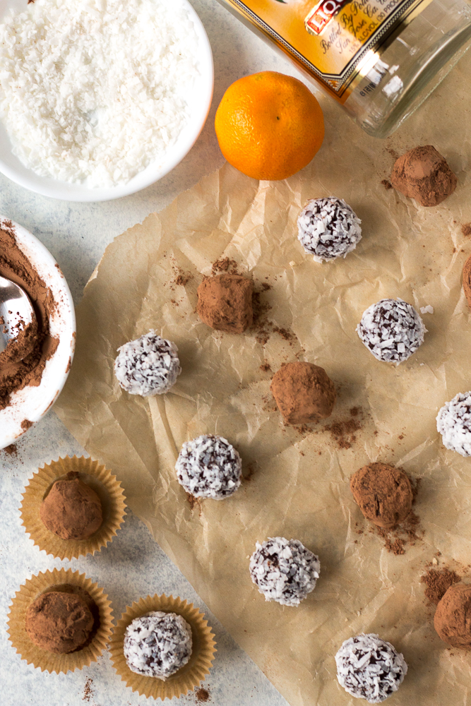 boozy chocolate truffles with accompaniments