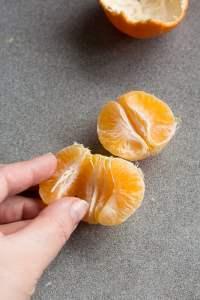 separating orange slices