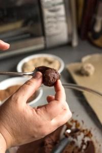 making a chocolate truffle ball